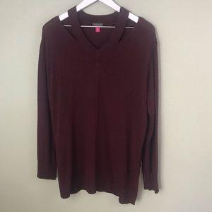 Vince Camuto Cutout Wine Sweater Size Medium